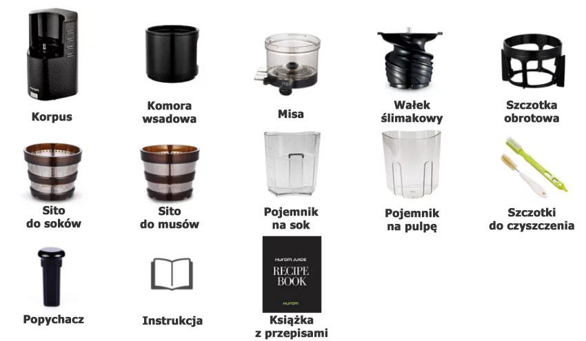 Wyciskarka Hurom HR Swarovski Limited Edition Elementy Zestawu